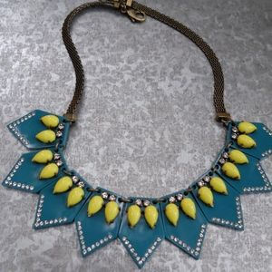 J.Crew + Lulu Frost Turquoise/Yellow Deco Necklace